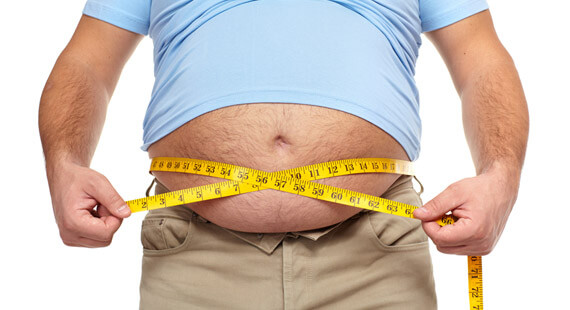 Man With Tape Measuring His Belly Fat